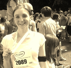 Me, after running the Flora Women's Mini Marathon in June 2013