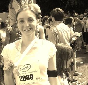 Me, after running the Flora Women's Mini Marathon in June 2013